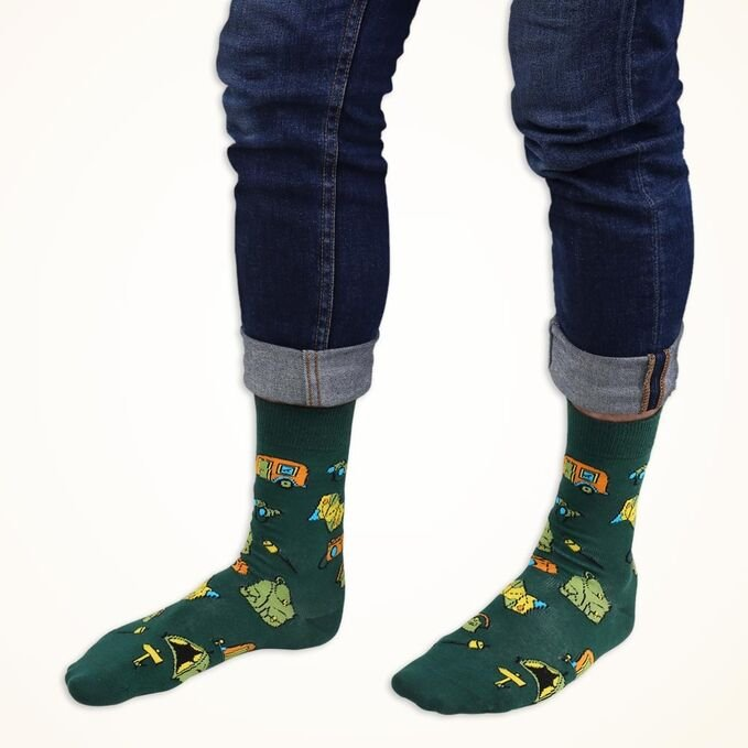 ColorCool - Colorcool Men's Green Socks Camping (1)